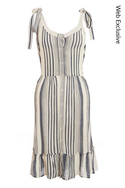 Cream & Navy Stripe Linen Midi Dress
